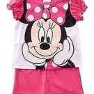 DISNEY MINNIE MOUSE Size 3T PINK Satin Pajama Shorts Set