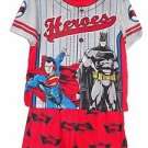 BATMAN, SUPERMAN Boy's Size 6/7 OR 8 Superheroes Pajama Print Shorts Set
