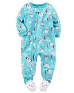 CARTER'S Girl's 3T OR 4T Blue Snowman Footie Fleece Footed Pajama Sleeper