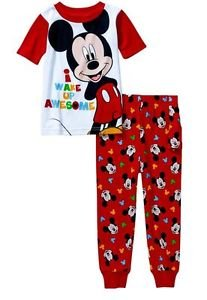 DISNEY MICKEY MOUSE Boy's 4T OR 5T I WAKE UP AWESOME Pajama Pants Set