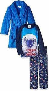 BUNZ KIDZ Boy's Size 5 OR 6 I NEED MY SPACE Astronaut Fleece Robe Set