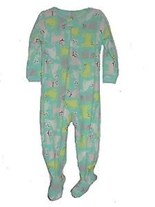 Carter's Girl's 3T OR 4T Mint Green Kitty Print Fleece Footed Pajama Sleeper