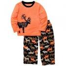 CARTER'S Boy's Size 4 TOUGH GUY Moose Fleece Pajama Set