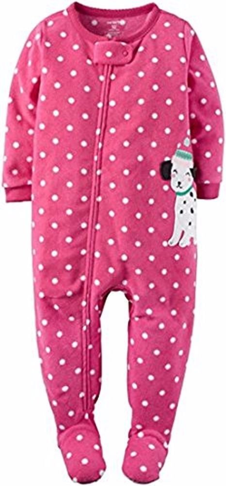 CARTER'S Girl's Size 3T Pink Dot Dalmatian Dog Fleece Footed Pajama Sleeper