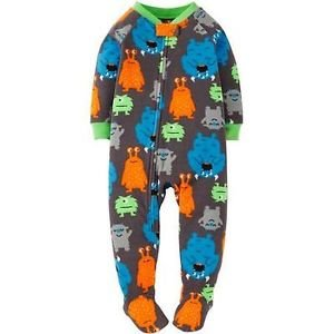 Toddler Boy's Size 4T OR 5T Fleece Footed MONSTERS Blanket Pajama Sleeper