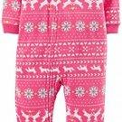 CARTER'S Girl's 5T Pink Reindeer Fair Isle Blanket Fleece Pajama Sleeper