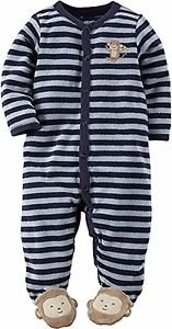 Carter's Striped Monkey Baby Boy's Terry Sleep & Play Size 3 Months