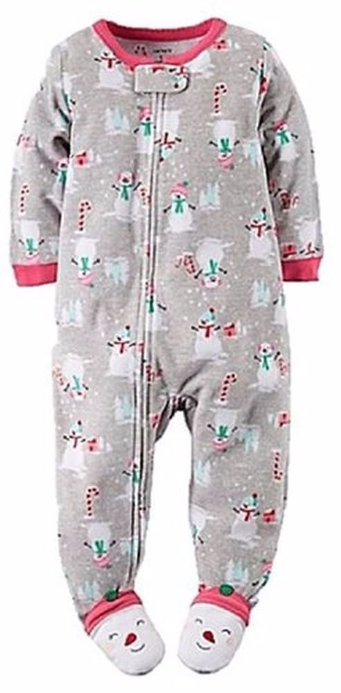 CARTER'S Girl's 2T SNOWMAN, CANDY CANES Fleece Footed Pajama Sleeper