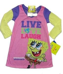 SPONGEBOB Girl's Size 4 LIVE, LOVE, LAUGH Nightgown w/ Keychain