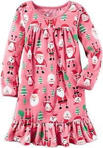 CARTER'S Girl's Size 6/7 Santa, Christmas Trees Pink Fleece Nightgown, Gown