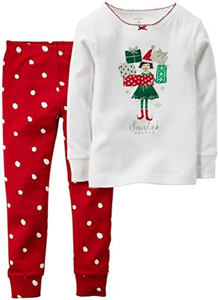 Carter's Girl's 2T Christmas Shopping Elf Santa's Helper Cotton Pajama Set