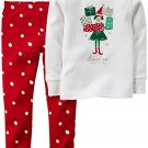 Carter's Girl's 2T Christmas Shopping Elf Santa's Helper Cotton Pajama Set