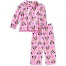Disney Minnie Toddler Girls 4T 2 Piece Button Down Flannel Pajama Set