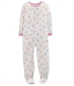 CARTER'S Girl's Size 5 Fleece Owl Print Footed Blanket Pajama Sleeper