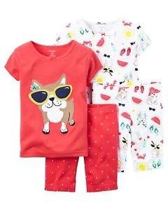 Toddler Girl's Size 4 BEACH BULLDOG 4-Piece Pajama Shorts, Shirts Set