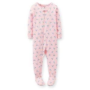 CARTER'S Girl's 5T Pink Bird Print Cotton Footed Pajama PJ Sleeper
