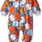 Toddler Boy's 5T Sports Ball Print Fleece Footed Blanket Pajama Sleeper