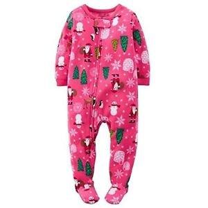 Girl's Size 18 Months Pink Christmas Trees, Santa Fleece Footed Pajama Sleeper
