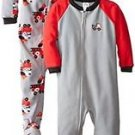 Boy's Size 4T Puppy Dog Fire Truck Set of 2 Fleece Footed Pajama Sleepers