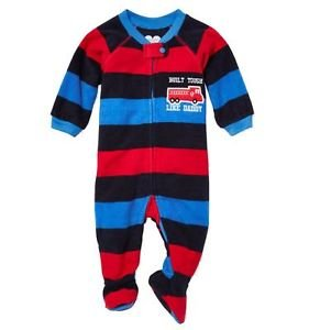 Toddler Boy's 3T Built Tough Like Daddy Firetruck Footed Blanket Pajama Sleeper