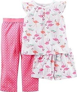 Carter's Girl's 4T 3-Piece FLAMINGO Polyester Pants, Shorts Pajama Set