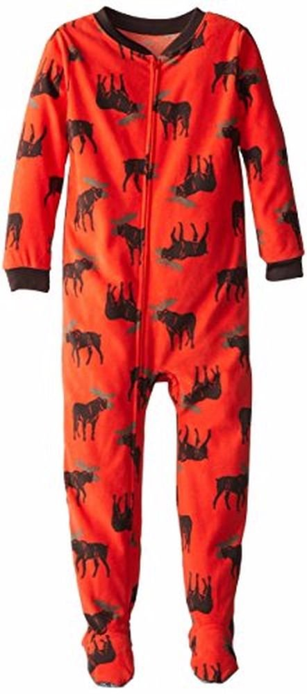 CARTER'S Boy's Size 3T OR 4T Orange Moose Print Fleece Footed Pajama Sleeper