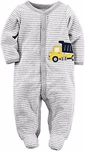 CARTER'S Baby Boy's 6 Months Soft Striped Dumptruck Terry Cotton Pajama Sleeper