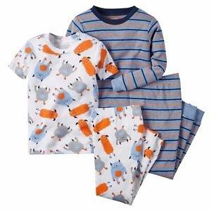 CARTER'S Boy's 3T OR 5T Striped Monster Print 4-Piece Pajama Pants Set