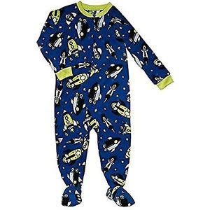 Carter's Boy's 12 Months Blue Glow-in-the-Dark Space Fleece Footed Pajama