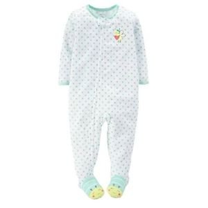 CARTER'S Girl's 5T Green Polka Dot Bumblebee Pajama Sleeper