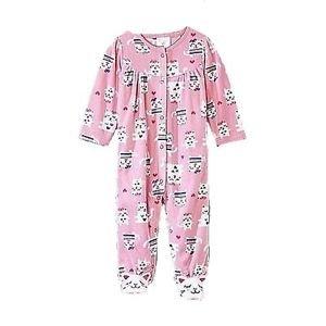 LITTLE WONDERS Girl's Size 0-3 Months Pink Fleece KITTY Romper, One-Piece