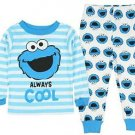 Sesame Street Baby Boys' 12 OR 18 Months Cookie Monster Striped Print Pajama Set