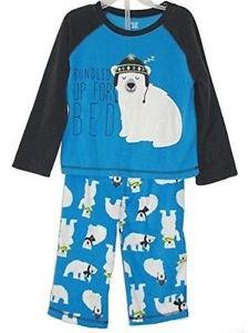 Toddler Boy's 3T Polyester Jersey Bundled Up For Bed Polar Bear Pajama Set