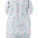Carter's Baby Girls Pink, Green Floral Zip Up Fleece Sleepsack, Bag