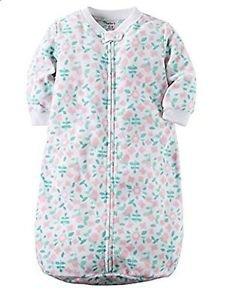 Carter's Baby Girls Pink, Green Floral Zip Up Fleece Sleepsack, Bag
