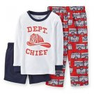 CARTER'S Boy's 3T Fire Dept. Chief 3-Piece Pajama Pants, Shorts Set