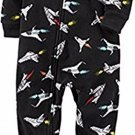 CARTER'S Boy's 4T Black Jet Rockets Fleece Footed Blanket Pajama Sleeper