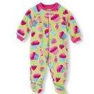 THE CHILDREN'S PLACE Girl's 3T Green CUPCAKE Fleece Footed Plush Pajama Sleeper