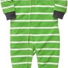 Carter's Boy's 5T Green Striped Raccoon Fleece Footed Pajama Sleeper