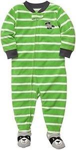 Carter's Boy's 5T Green Striped Raccoon Fleece Footed Pajama Sleeper