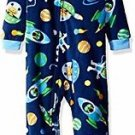 PEAS AND CARROTS Boy's 3T OR 4T Fleece Footed Space Alien Pajama Sleeper