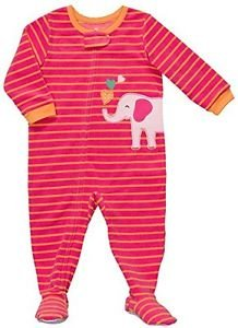 CARTER'S Girl's Size 3T Striped Pink ELEPHANT Fleece Footed Pajama Sleeper,