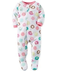 CARTER'S Girl's Size 3T, 4T OR 5T Fleece Footed DONUTS SPRINKLES Pajamas PJ'S
