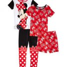 Disney Girl's Size 4 MINNIE MOUSE Bows 4-Piece Pajama Pants, Shorts Set