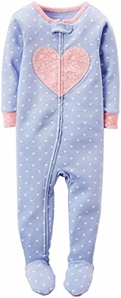 Carter's Girl's 4T Blue Heart Print Floral Cotton Footed Pajama Sleeper