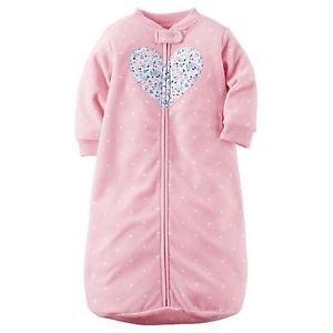 Carter's Baby Girls Pink Polka Dot Heart Applique Zip Up Fleece Sleepsack, Bag