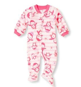 Toddler Girl's Size 3T OR 4T Pink Striped Penguin Fleece Footed Pajama Sleeper