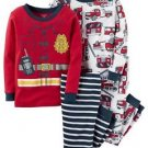 Boy's Size 3T, 4T OR 5T Fireman 4-Piece Costume Style Print Pajama Set