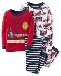 Boy's Size 3T, 4T OR 5T Fireman 4-Piece Costume Style Print Pajama Set