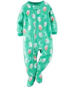 Girl's 5T Fleece Green Owl and Moon Print Footed Pajama Sleeper